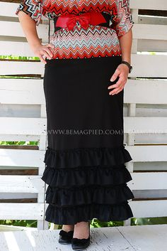 BeMagpied Black Ruffled Maxi Skirt Ladies by BeMagpied on Etsy, $50.00