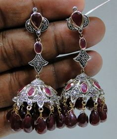 Vintage Diamond Ruby gold Victorian Earrings by TRIBALEXPORT, $975.00