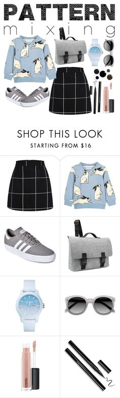 """""""Pattern Mixing"""" by therealstephshady ❤ liked on Polyvore featuring adidas, Mad Rabbit Kicking Tiger, Lacoste and MAC Cosmetics"""