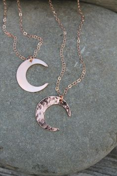 Rose gold Moon Necklace, crescent moon hammered or smooth, 14K rose Gold Filled,celestial pink gold layering necklace, wear it long or short