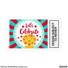 Shop Circus, Carnival Postage created by dasqprints. Circus Carnival Party, Carnival Themes, Party Themes, Party Ideas, Carnival Activities, Circus Birthday Invitations, Halloween Party Drinks, Summer Crafts For Kids, Lets Celebrate