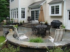 patio, love the steps down, tear down the crappy old deck and do this instead!