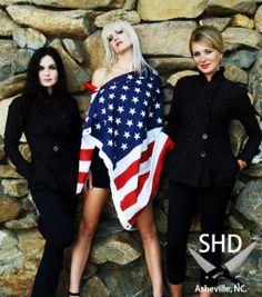 SHD in Black #Sexy #Chef #Jacket #Women #madeinusa #Asheville Available now at : http://sandraharvey.bigcartel.com/  (left) Designer Sandra Harvey (center) Model Jessica Nielsen (right) Ashley Hayes Photo by: James Warrick Photography