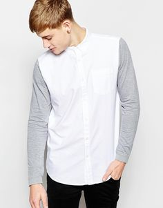 New Look Oxford Shirt with Contrast Sleeves