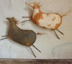 Paco and Little Cloud, A Primitive Folk Art Horse Pattern via Etsy © Raven's Haven, Stacey Mead