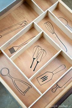 Kitchen Utensil Drawings & Kitchen Drawer Organization - - Organize your kitchen drawers and keep them organized with these fun kitchen utensil drawings. Includes vinyl decal cut files and a DIY drawer organizer. Diy Organizer, Diy Organization, Kitchen Utensil Storage, Kitchen Utensil Organization, Kitchen Drawer Organiser, Kitchen Utensils List, Clothes Drawer Organization, Utensil Organizer, Apartment Kitchen Organization