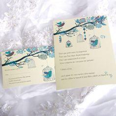 Printemps Faire Part Mariage Oiseaux Verte Poche Style JM517 faire part de mariage pas cher, sur mesure - joyeuxmariage.fr