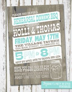 Country / Rustic / Rehearsal Dinner Invitation by Meghilys on Etsy, $10.00