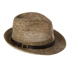 Natural Marled Knit Packable Fedora with Black Faux Leather Belt Trim