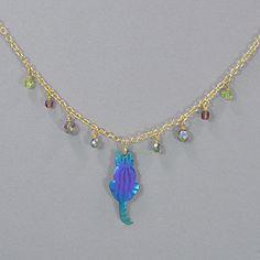 Holly Yashi Sitting Kitty Necklace - Purple/Turquoise