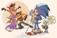 "Shira no Twitter: ""Family slowly growing up #Sonic #RatchetandClank #CrashBandicoot #Spyro #Crossover… "" ."