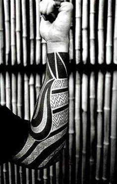Nice black work sleeve tattoo