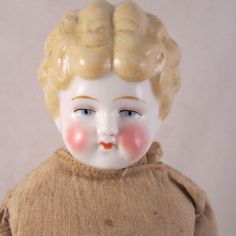 Antique China Head Doll Porcelain Germany c 1900 Low Brow Blonde 17.5""