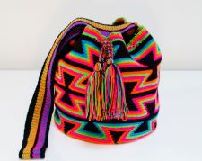 Authentic Wayuu Mochila - Black and Neon Multicolored - Tribal Geometric Patterns - Large