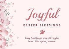 Customize the Pink Joyful Easter Blessings Card template and make it match your brand!