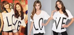 Girls' Generation: Sooyoung and Yuri wearing Wildfox Couture's LO & VE t-shirts! *SooRi*