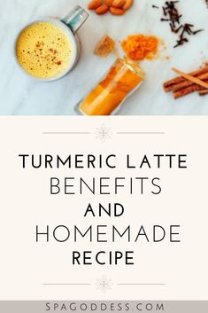 Turmeric Latte Benefits + A Homemade Recipe   Organic Skin Care + Natural Beauty Tips -  Click through to learn the benefits of turmeric + a recipe to make your own golden milk latte.   SpaGoddess Apothecary   turmeric latte golden milk   turmeric latte recipes   turmeric latte benefits   healthy, vegan, easy turmeric latte   best turmeric latte   natural living tips   fresh turmeric latte   dairy free turmeric latte #turmericlatte #naturalliving #healthyrecipes #healthyliving #superfoods…