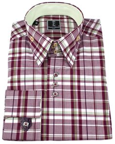 Men's luxury shirts - Leather french cuff shirts - Umberto maroon | UrUNIQUE.com