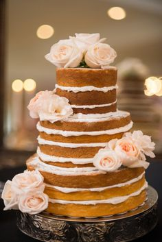 Soft pink naked cake: http://www.stylemepretty.com/north-carolina-weddings/2014/12/30/romantic-vintage-wedding-2/ | Photography: Angel Esparar - http://www.angelesparar.com/