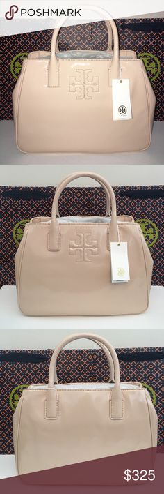 """TORY BURCH Charlie Patent Satchel Light Oak Guaranteed Authentic! Style# 34046. Tory Burch Charlie patent satchel in light oak color. Beautiful color!!!! Gold tone hardware. Patent leather. Interior in in signature satin TB design. One snap pocket, 1 zip pocket, and 2 open pockets. Dual tubular leather handles with 4"""" drop. 20"""" gold chain and leather removable strap. Approximate measurements: 9""""H x 12""""L x 5""""W. Item will be videotaped prior to shipping to ensure proof of condition. Tory Burch…"""