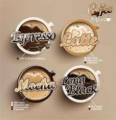 creative coffee menu with labels vector