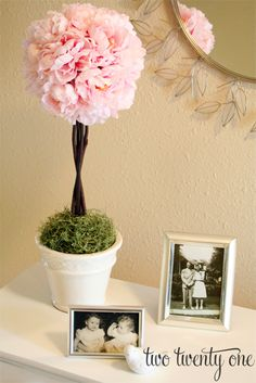 Since I kind of showcased the pink peony topiaries this week with all the dresser turned TV stand coverage, I thought I d post the tutorial again for those of you who missed it the first time around.