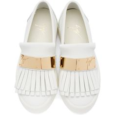 Giuseppe Zanotti White Leather London Slip-On Sneakers ($575) ❤ liked on Polyvore featuring shoes, sneakers, white trainers, leather sneakers, round toe sneakers, leather slip on shoes and white leather sneakers