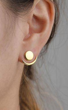 Moon Phase Earrings- Front Back Earrings- Ear Jacket- Floating Earrings- Geometric Jacket Earrings- Bridesmaid Gift- Stud Earrings- Goldohrringe Lunai Schmuck Bijoux Design, Schmuck Design, Jewelry Design, Designer Jewellery, I Love Jewelry, Women Jewelry, Cheap Jewelry, Jewelry Ideas, Jewellery Supplies