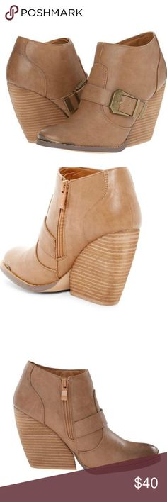 """🌸2 for $60🌸NIB Very Volatile Yorker Bootie Great faux leather booties by Very Volatile in Tan.  Round toe.  Lightly padded insole.  Wraparound strap with buckle detail.  Side zip closure.  Approx 3"""" shaft height, 11.75"""" opening circumference, 3.75"""" heel. Shoes Ankle Boots & Booties"""