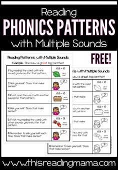Reading Phonics Patterns with Multiple Sounds Chart - free from This Reading Mama Free Teaching Resources, Teaching Phonics, Phonics Activities, Teaching Ideas, Ea Words, Spelling Words, Alpha Phonics, Phonics Cards, Word Study