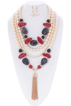 Aaliyah Simulated Pearl and Faux Gem Stone Statement Necklace and Earrings Set
