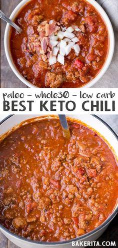 Desayuno Paleo, Keto Chili Recipe, Whole 30 Chili Recipe, Low Carb Chili Recipe With Beans, Chili Recipes With Beef, Low Calorie Chili Recipe, Paleo Sausage Recipes, Low Carb Chilli, Paleo Beans