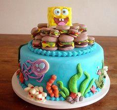 Spongebob Squarepants cake with crabby patties and marine life. Fancy Cakes, Cute Cakes, Fondant Cakes, Cupcake Cakes, Spongebob Party, Spongebob Squarepants, Bolo Original, Crabby Patties, Gateaux Cake