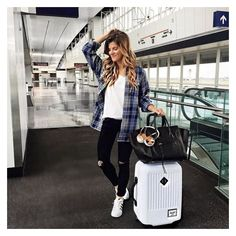 70 Summer Airplane Outfits Travel Style Ideas Need to Try ❤ liked on Polyvore featuring bags and luggage