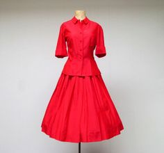 Vintage 1950s Silk Suit / 50s Red Silk by RanchQueenVintage