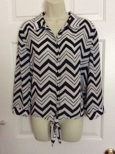 Chico's Blouse 3 Black White Chevron Button Front Tie Bottom Chico's Top $98 | eBay
