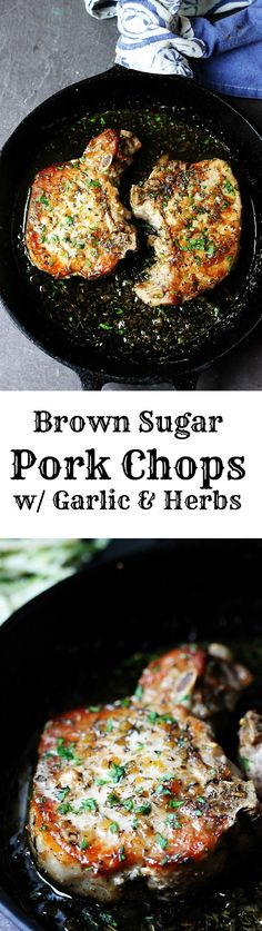 Brown Sugar Pork Chops with Garlic and Herbs are as delicious as they sound. The sweet brown sugar sauce is perfectly balanced by garlic and dried herbs, like thyme and oregano. A juicy pork chops dish that comes together in no time at all. by Amy Claire Food For Thought, Pork Chop Dishes, Pork Chop Meals, Juicy Pork Chops, Sauce For Pork Chops, Pork Chop Marinade Baked, Recipes With Pork Chops, Pork Chop Brine Recipes, Quick Pork Chop Recipes