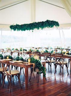 Garland draped tables: http://www.stylemepretty.com/2016/01/06/black-tie-garden-party-wedding/   Photography: Sally Pinera - http://sallypinera.com/