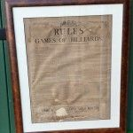 Framed antique billiard rules by Orme. | Browns Antiques Billiards and Interiors.