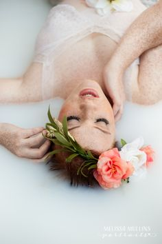 Milk Bath Photography Inspiration with Flower Crown
