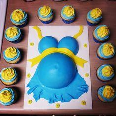 Adorable Pregnant Belly Cake & cupcakes!