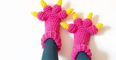 Monster Slippers crochet pattern by Knits for Life. These fun slippers make a great halloween costume or just cozy treats to keep your toes toasty.… | Pinteres…