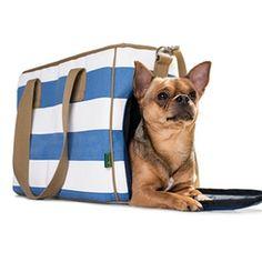 Ruegen Stripe Dog Carrier Purse :: Blue / White
