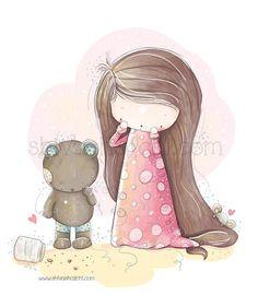 Children Illustration -Little Girl And Her Teddy Bear - A3