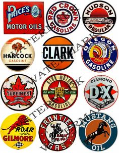 Automobile Oil Labels COLLAGE EPHEMERA Sheet 156 by retrowallart