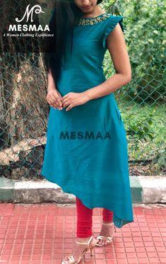 Discover thousands of images about Untitled Salwar Kameez Neck Designs, Churidar Designs, Kurta Designs Women, Kurti Sleeves Design, Sleeves Designs For Dresses, Dress Neck Designs, Kalamkari Dresses, Sari Blouse Designs, Kurti Patterns