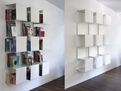 The Square Bookcase is an interesting method to store your books, and not only books designed by Anne Linde. As you can see from this picture this white bookcase would be a great piece of furniture in a white room. The Square Bookcase doesn't require to much space, and can be hanged on a wall in any room. – Found on Inneonline