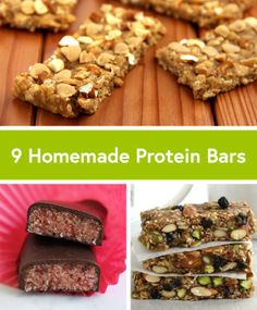 9 Healthy Homemade Protein Bar Recipes to fuel up post workout from our favorite bloggers, including @Angela Gray Liddon @Karin Brown-Covered Katie.
