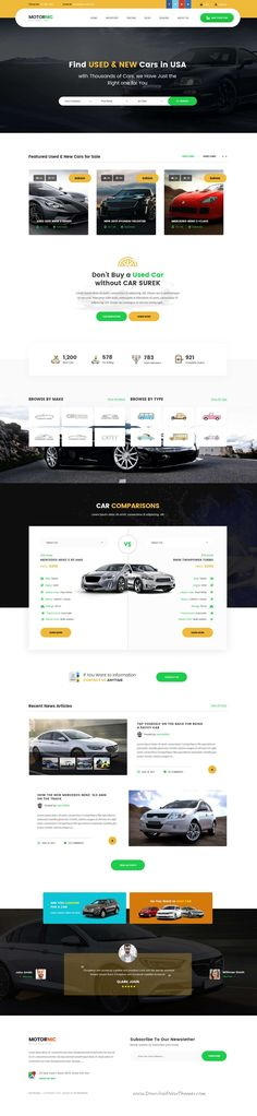 MotorNic is clean and modern design PSD template for vehicle #marketplace and #car #rental services website with 7 homepage layouts and 90+ layered PSD pages to live preview & download click on Visit