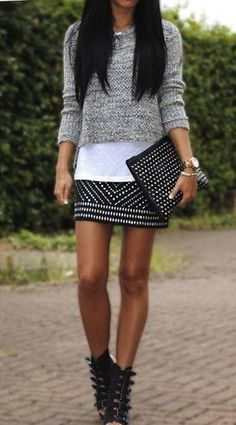Monday Inspo!  #Cropped #Knitwear #Sweater #Studded #Metallic #Miniskirt #White #Tee #Studded #Clutche